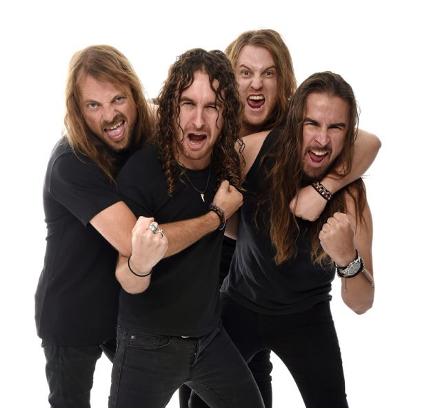 MELBOURNE, AUSTRALIA - MARCH 29TH 2017;Airbourne pose for portraits on the 29thof March 2017 in Melbourne Australia. (Photo by Martin Philbey) *** Local Caption ***Airbourne