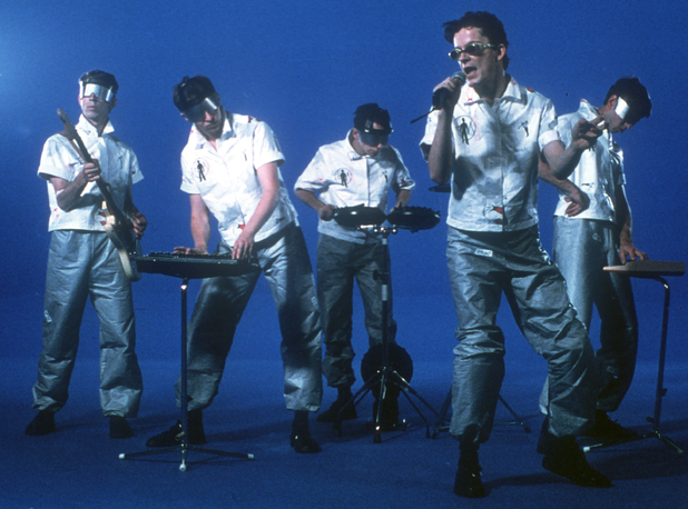 Alan Myers, Bob Mothersbaugh, Bob Casale, Mark Mothersbaugh and Gerald Casale of Devo
